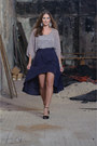 Silver-beaded-blouse-navy-skirt