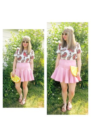 pink flared hem asos skirt - Monki bag - Ebay sunglasses - Zara sandals