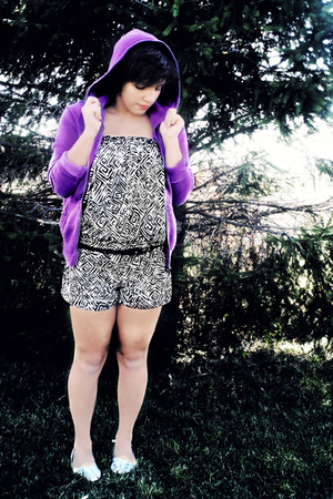 purple Victorias Secret sweater - black Forever 21 suit - black thrifted belt