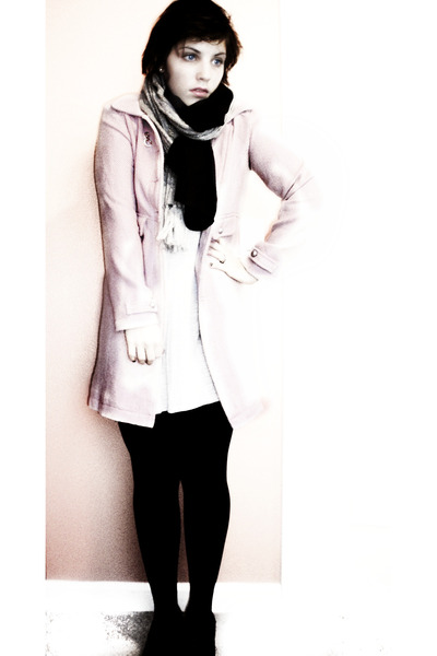 pink Old Navy coat - white Forever 21 dress - black scarf - gray scarf - black t