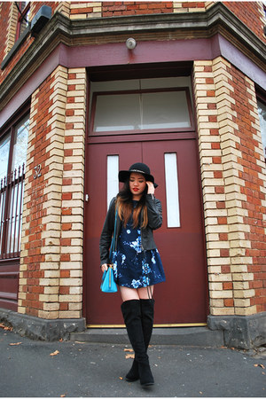 black pleather new look boots - blue floral Miss Shop dress