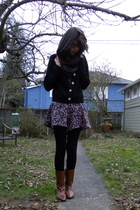 purple thrifted - black H&M tights - brown Maloles boots - brown American Appare
