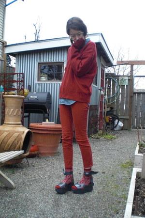 burnt orange cropped BDG pants - crimson thrifted sweater - blue denim H&M shirt