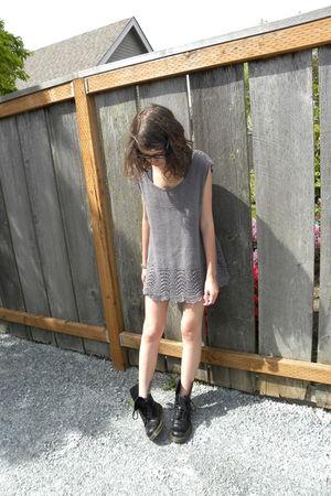 gray Forever 21 shirt - black Dr Martens boots - gray vintage skirt