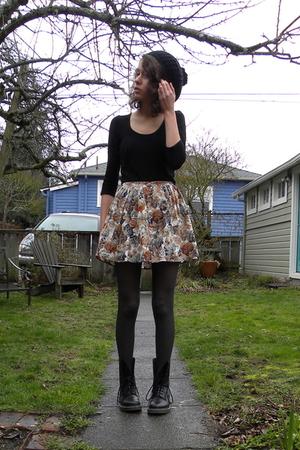 black shirt - beige Forever 21 skirt - black Dr Martens boots - gray vintage top