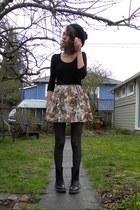 black shirt - beige Forever 21 skirt - black Dr Martens boots - gray vintage top