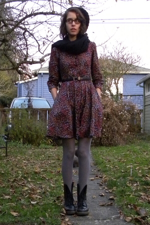 purple H&amp;M dress - black Pashmina scarf - silver DKNY tights - black Dr Martens 