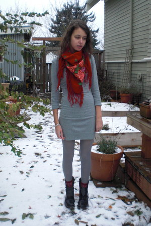 ruby red vintage scarf - heather gray H&M dress - ruby red socks - black Dr Mart