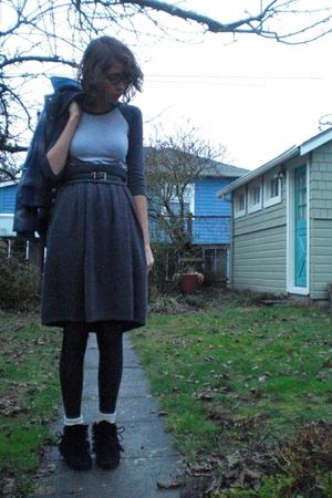 gray American Apparel shirt - gray thrifted skirt - blue BDG coat - black Target