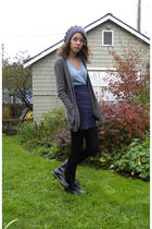 gray American Apparel cardigan - blue shirt - blue American Apparel skirt - blac