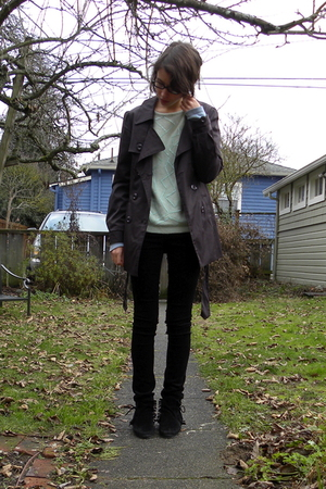 purple Vertigo - green thrifted sweater - black Forever 21 pants - black Miss Me