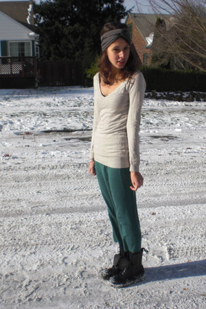 beige H&M sweater - turquoise blue thrifted skirt - black Dr Martens boots