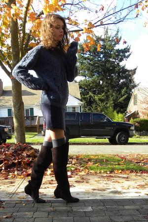 blue L L Bean sweater - navy American Apparel skirt - gray Nordstrom socks - dar