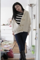 handmade sweater - Zara shirt - Express jeans - first boots
