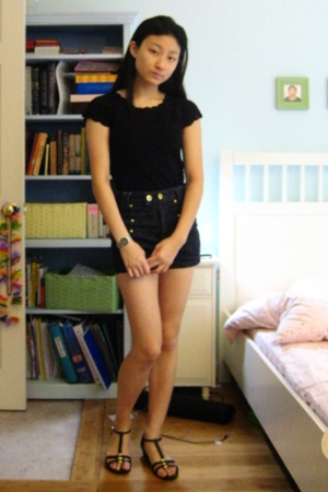 black Nine West shirt - black Enzo Angiolini shoes - blue TJ Maxx shorts