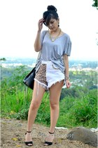 white Shorts station shorts - heather gray grey loose Shorts station top