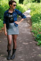 blue Osh Kosh shirt - gray H&M skirt - gray vintage boots - black H&M t-shirt -