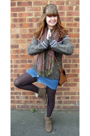 Topman jumper - Topshop boots - Pretty polly tights - Mulberry bag