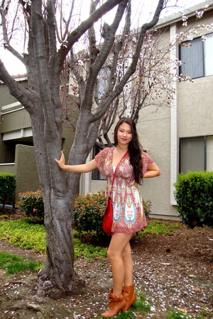 red f21 dress - orange pinkzone boots - red thrift purse