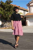 red gingham vintage dress - black retro Betsey Johnson sunglasses