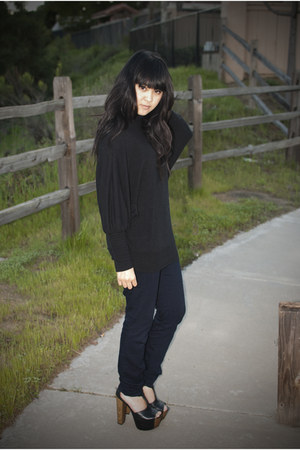 navy skinny legging Gap jeans - black batwing Forever 21 sweater - black platfor