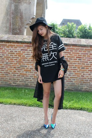 Bershka dress - romwe hat - Primark cardigan - Nelly heels