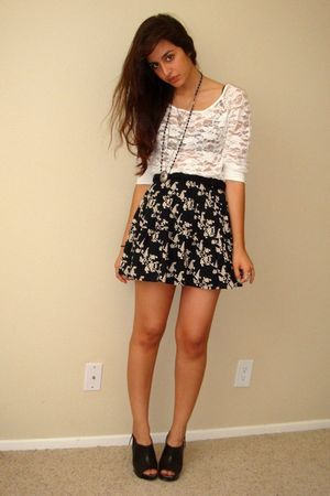 black Target shoes - black Target skirt - white lace Forever21 top