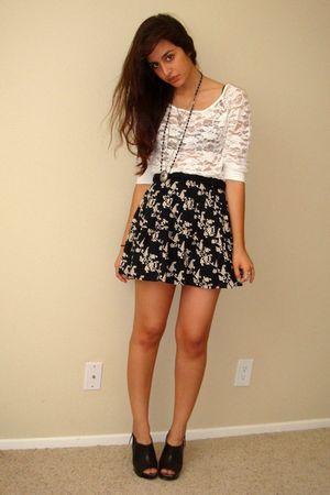 black Target shoes - black Target skirt - white lace Forever21 top