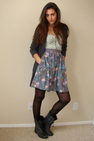 gray Express cardigan - gray Kimchi Blue dress - black eteve madden boots