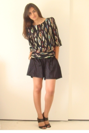 vintage blouse - express silk shorts - Target shoes