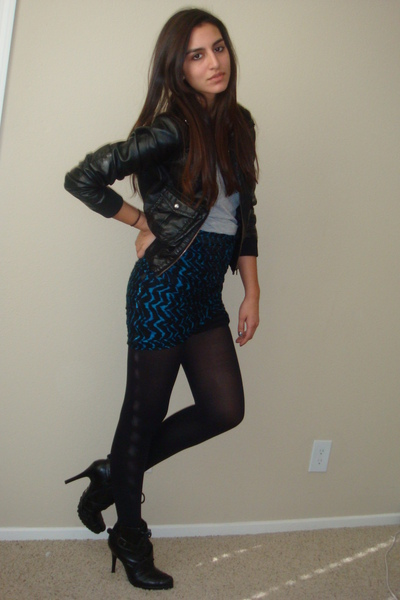 black Dollhouse boots - black faux leather H&M jacket