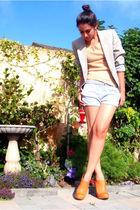 gray Vintage YSL blazer - brown Frye boots - beige dvf sweater