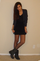 gray Express cardigan - black Express t-shirt - black H&M skirt - black Express