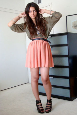 green H&amp;M shirt - pink American Apparel skirt - black vintage belt - black sam e