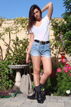 white Express t-shirt - blue DIY vintage wrangler shorts - black vintage belt -