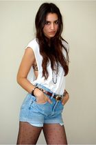 white DIY t-shirt - brown Express bra - brown vintage belt - blue DIY old wrangl