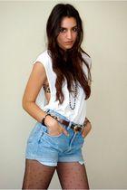 white DIY t-shirt - brown Express bra - brown vintage belt - blue DIY old wrangl