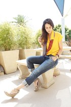 yellow vintage blouse - blue mens energie jeans - violet vintage scarf