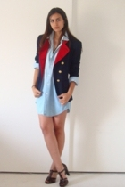 vintage Jones New York blazer - dads denim shirt - stuart weitzman shoes