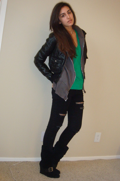 black H&M jacket - gray C&C jacket - green American Apparel t-shirt - black sile
