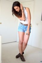 white Forever21 top - blue DIY vintage wranglers shorts - brown vintage belt - b
