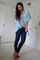 blue dads denim shirt - gray Zara t-shirt - blue Express jeans - brown Frye boot