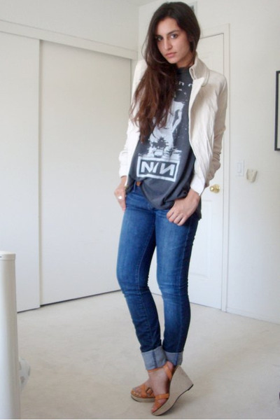 beige Express jacket - blue joes jeans - gray thrifted t-shirt - beige shoes
