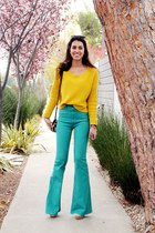 teal flared BDG jeans - mustard H&M sweater - brown TJMaxx bag