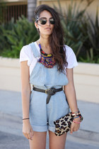 black vintage Coach belt - blue overalls American Apparel romper