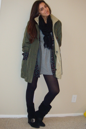green gallery coat - gray Forever21 cardigan - gray Target t-shirt - black Dr Sc