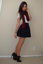 red Express scarf - white Express t-shirt - black H&M skirt - black Dollhouse bo