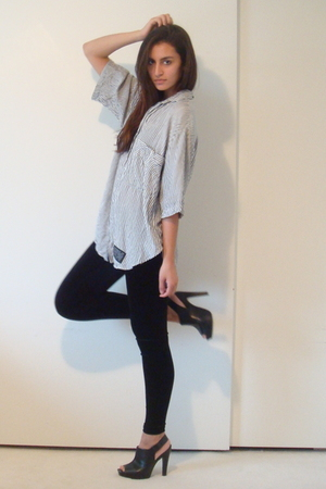 gray vintage union bay shirt - black Forever 21 leggings - black Target shoes - 
