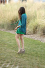 Teal-forever-21-sweater-green-dkny-dress-dark-khaki-bcbg-wedges