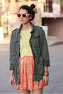 Orange-american-apparel-dress-olive-green-h-m-jacket